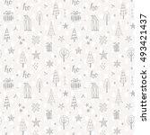 christmas doodles seamless... | Shutterstock .eps vector #493421437