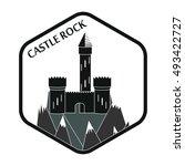 ancient castle in hexagon plate ... | Shutterstock .eps vector #493422727