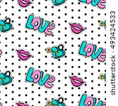 seamless pattern with... | Shutterstock .eps vector #493424533