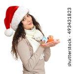 Girl In Santa Hat Portrait Wit...