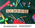 colourful stationery and word... | Shutterstock . vector #493435057