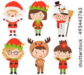 set of christmas characters and ... | Shutterstock .eps vector #493443763