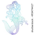 hand drawn mermaid  on white... | Shutterstock .eps vector #493474417