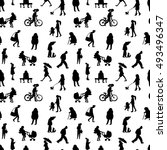 people silhouettes. seamless... | Shutterstock .eps vector #493496347