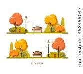 public park. autumn. vector... | Shutterstock .eps vector #493499047