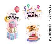 happy birthday watercolor... | Shutterstock .eps vector #493499863
