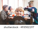cute playful preschooler child... | Shutterstock . vector #493502197