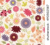 autumn seamless pattern with... | Shutterstock . vector #493502587
