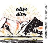carpe diem quote. sketch of a... | Shutterstock .eps vector #493504207