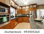 large kitchen room interior... | Shutterstock . vector #493505263