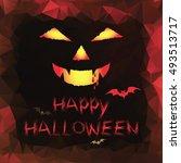 happy halloween polygon... | Shutterstock .eps vector #493513717
