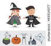 happy halloween vector. set of... | Shutterstock .eps vector #493514377
