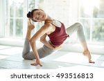 pleasant girl doing stretching... | Shutterstock . vector #493516813