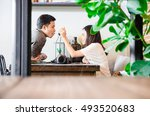 asian couple in restaurant with ... | Shutterstock . vector #493520683