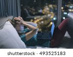 young exhausted depressed... | Shutterstock . vector #493525183