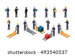 set of employees of postal or... | Shutterstock .eps vector #493540537