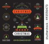 christmas labels and badges... | Shutterstock .eps vector #493550473