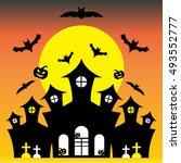 halloween  castle  graveyard ... | Shutterstock .eps vector #493552777