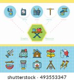 icon set camping vector | Shutterstock .eps vector #493553347