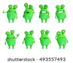 collection of charming green... | Shutterstock . vector #493557493