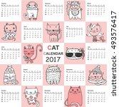 calendar 2017. cute cats for... | Shutterstock .eps vector #493576417