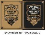 whiskey label with old frame | Shutterstock .eps vector #493580077