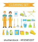 set of icons for cleaning tools.... | Shutterstock .eps vector #493585207