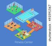 isometric fitness club sport... | Shutterstock .eps vector #493591567