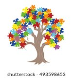 puzzle pieces in autism... | Shutterstock .eps vector #493598653