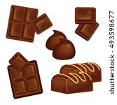 chocolate bars and pieces... | Shutterstock .eps vector #493598677