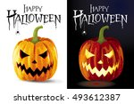 set of two halloween greeting... | Shutterstock .eps vector #493612387
