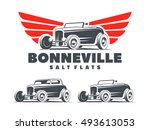 retro hot rod with stylized... | Shutterstock .eps vector #493613053
