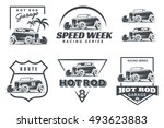set of hot rod logo  emblems