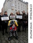 Small photo of KRAKOW, POLAND - 3th Monday October 2016 : Polish women take part in a nationwide strike and demonstration to protest aganist a legislative proposal for a total ban of abortion in Cracow