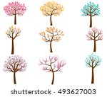vector set of colorful trees in ... | Shutterstock .eps vector #493627003