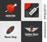 guitar shop  music store set ... | Shutterstock .eps vector #493628737