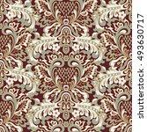 damask floral seamless pattern. ... | Shutterstock .eps vector #493630717