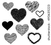 hand drawn vector hearts on... | Shutterstock .eps vector #493635223