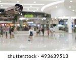 cctv security camera on blur...   Shutterstock . vector #493639513