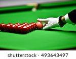 snooker referee arranging pink... | Shutterstock . vector #493643497