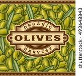 retro olive harvest label | Shutterstock . vector #493648843