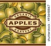 retro apple harvest label | Shutterstock . vector #493648867
