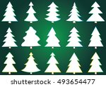 christmas tree vector icon set... | Shutterstock .eps vector #493654477