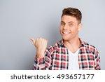 happy handsome young man... | Shutterstock . vector #493657177