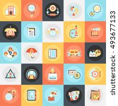 flat conceptual icons pack of... | Shutterstock .eps vector #493677133