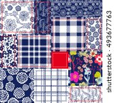 blue  white and red patchwork.... | Shutterstock .eps vector #493677763