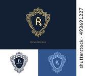 line graphics monogram. elegant ... | Shutterstock .eps vector #493691227
