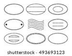set of black oval shape postal... | Shutterstock .eps vector #493693123