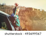 happy little boy travel by car... | Shutterstock . vector #493699567