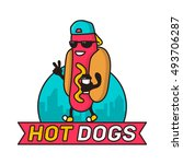 cool guy hot dog in city with... | Shutterstock .eps vector #493706287